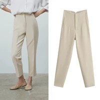 za 2021 spring trouser suits high waisted pants women fashion office beige pants chic button zip elegant pink casual woman pants