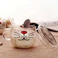 novelty glass cup cat face mugs coffee tea milk breakfast mug creative gifts 540ml