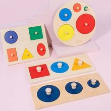Kids Wooden Shape Puzzle Board Montessori Children Toys Learning Color Size Sorting Developmental Ed