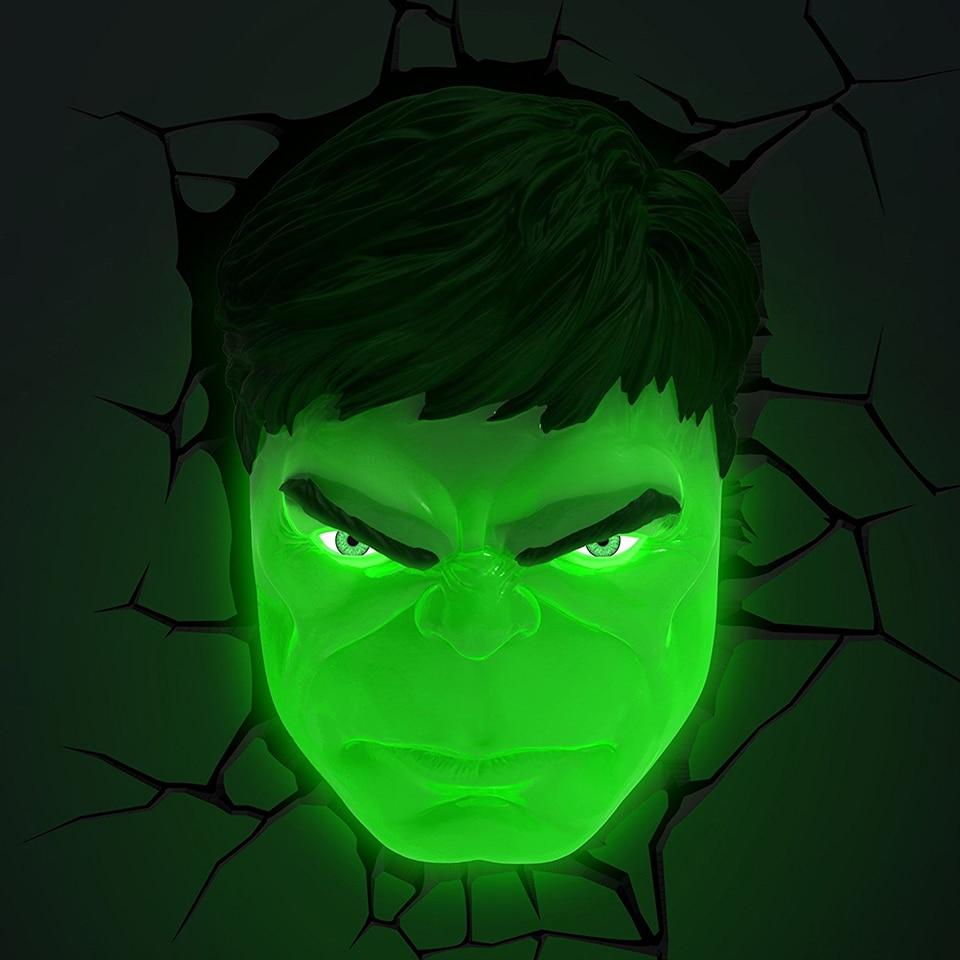 Acecorner Hulk Head Hand Superhero 3D Creative LED Wall Lamp Sticker Hanging Avengers Marvel  Night Light for Christmas Kid Gift enlarge