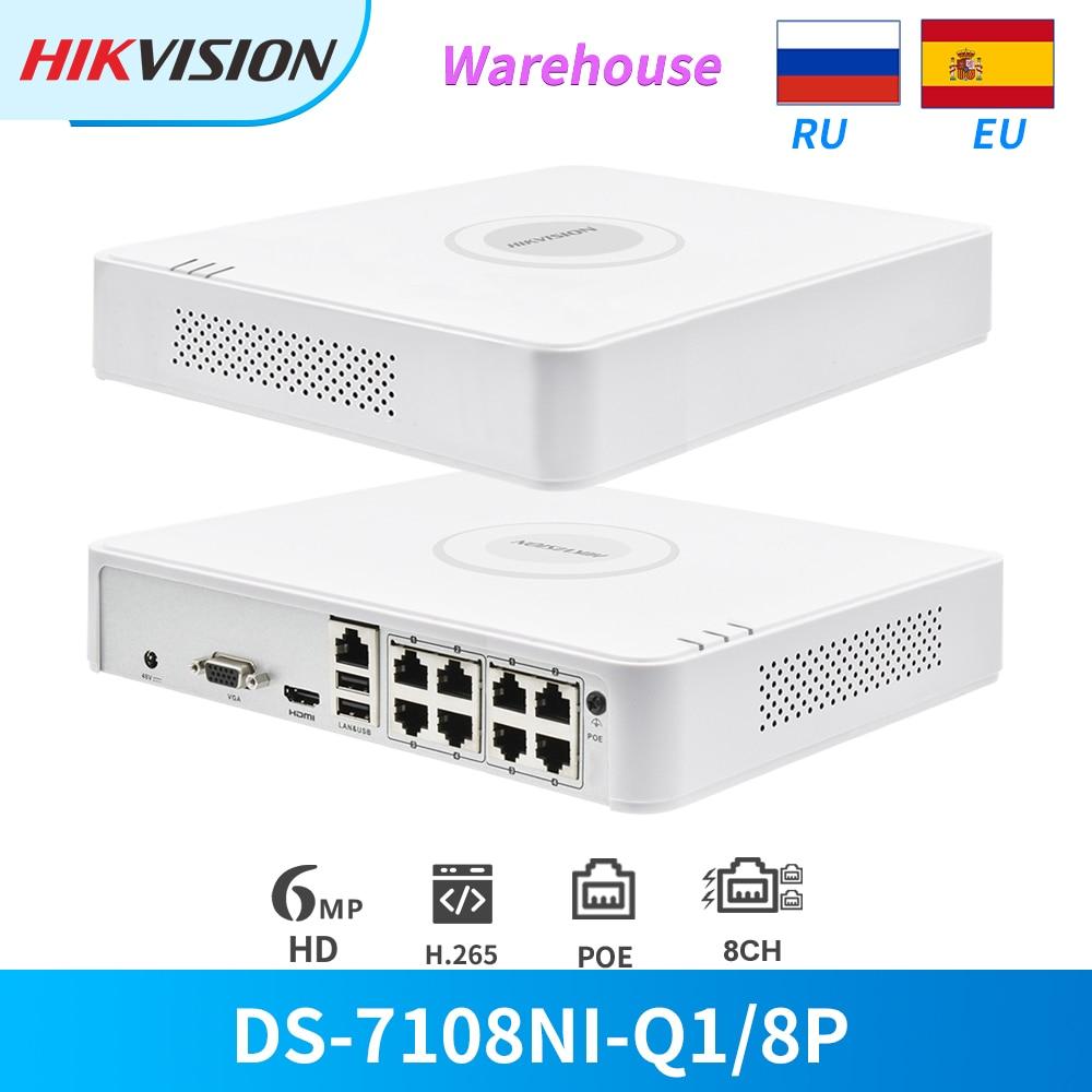 Hikvision câmera original 8ch poe nvr, DS-7108NI-Q1/8p, 6mp, ver 4mp, gravação sata para poe ip registo do gravador cctv