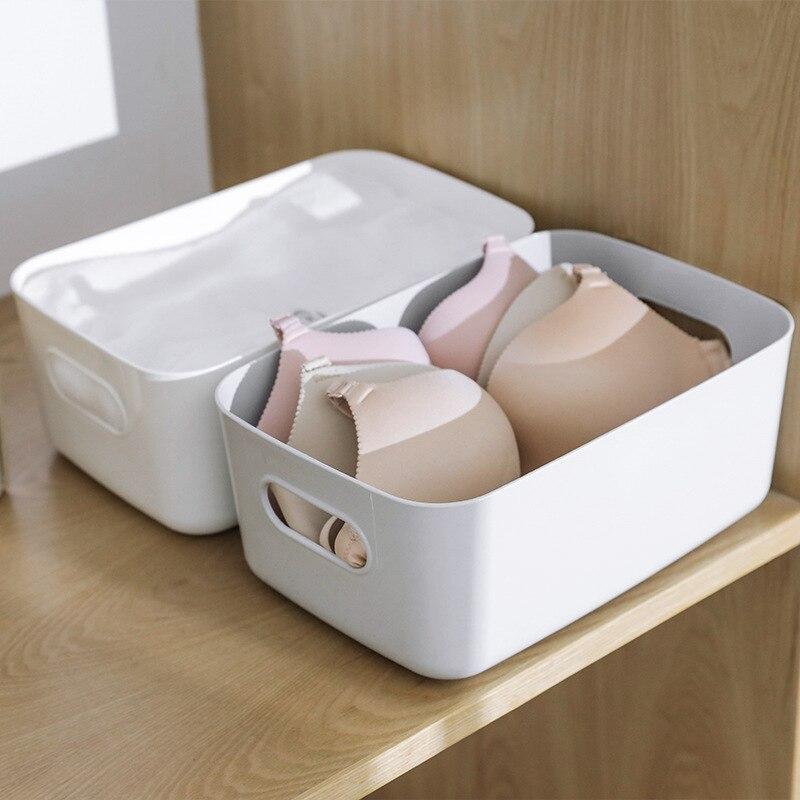 Japón Simple plástico escritorio maquillaje caja multifunción papelería joyería cocina baño acabado cesta hogar organizador