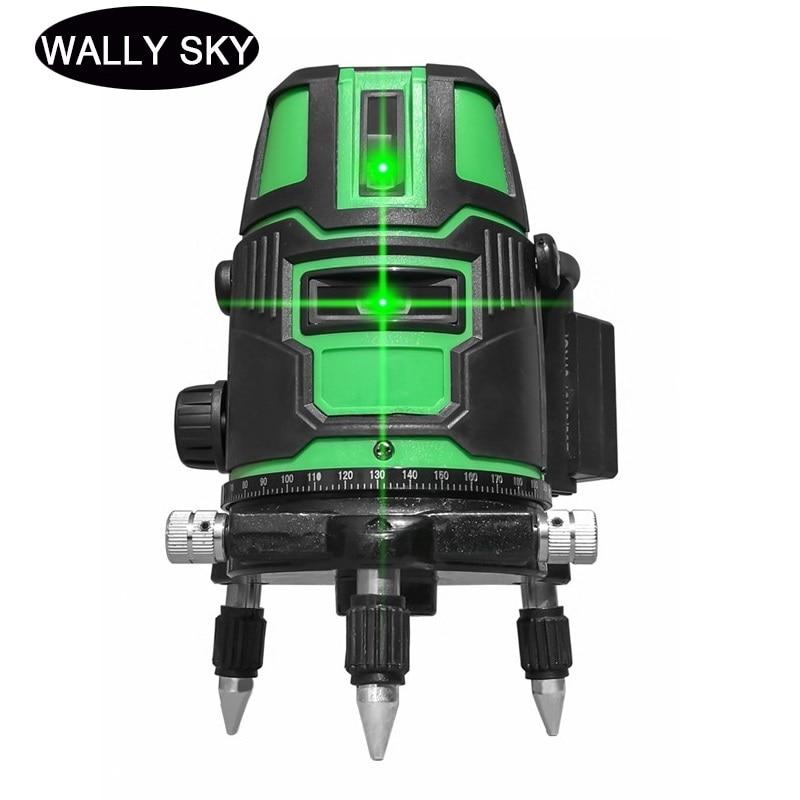Nivel láser 2/3/5 líneas cruzadas autornivelación de radio verde alternando directamente 360 medición Vertical Horizontal giratoria