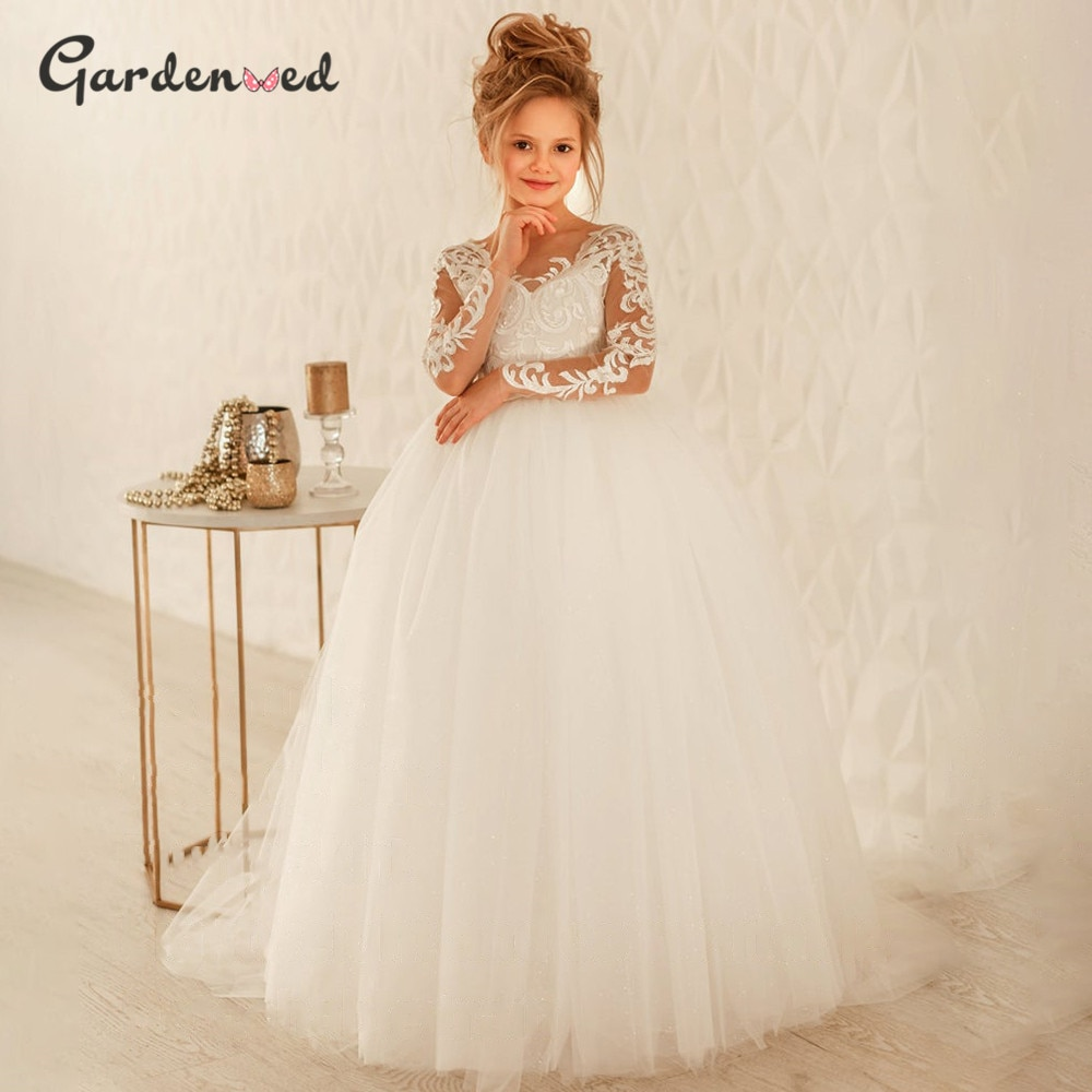 appliques flower girl dresses bow knot v neck kids pageant dress evening for party birthday hollow out princess dress b29 Puffy Flower Girl Dresses 2020 Lace Appliques Princess Dress Tulle Kids Communion Dresses Sleeve Bow Girl Birthday Party Dress