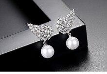 NEW SALE European Fashion Jewelry Original Crystal from Swarovskis Zircon Wings Womens Pearl Earrings earrings studs