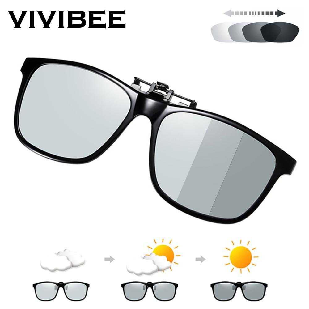 VIVIBEE 2020 Polarized Pilot Flip Up Clip on Sunglasses Men Photochromic Polarised Women Sun Glasses Color Change Night Driving