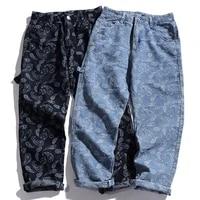 jeans man straight pants 2021 new loose denim pants hip hop bandana paisley pattern retro street style fashion jean men trousers