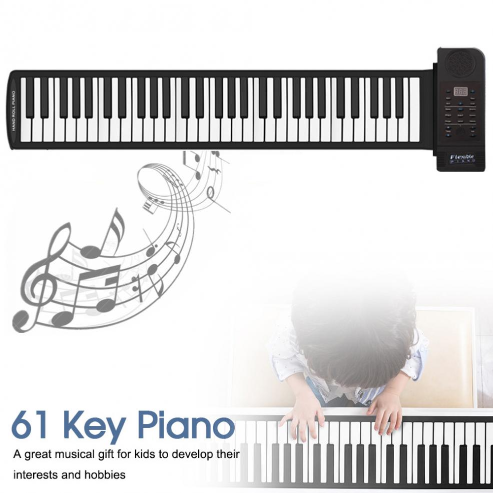 Portable 61 Keys Roll Up Flexible Silicone Piano Electronic MIDI Keyboard Organ for Beginners / Professional Performance enlarge