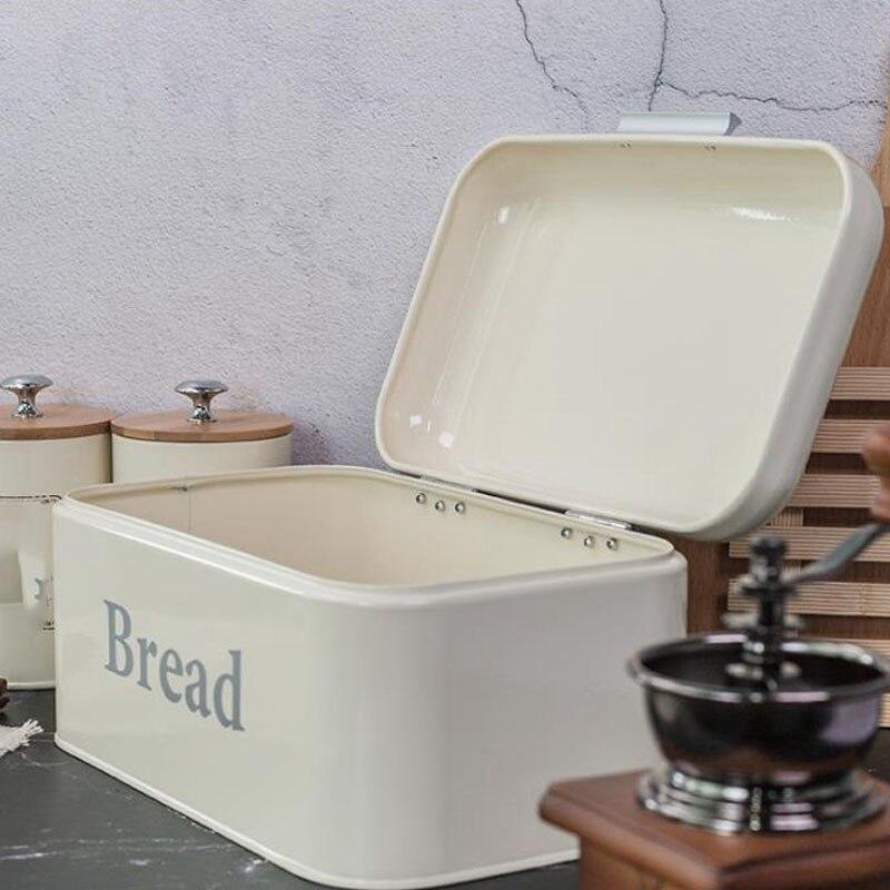 Vintage Bread Box Cupboard Iron Snack Box Desktop Finishing Dust-Proof Storage Box Storage Bin Keeper Food Kitchen Shelf Decor W