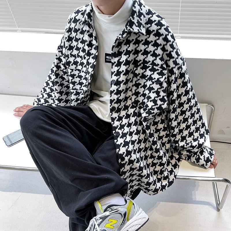 Демисезонная Клетчатая Мужская куртка, Корейская повседневная куртка, Мужская модная куртка большого размера, Мужская Уличная одежда, шерс...