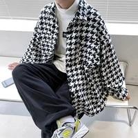 spring autumn plaid mens jacket korean casual jacket mens fashion oversized jacket mens streetwear woolen jacket men m 2xl