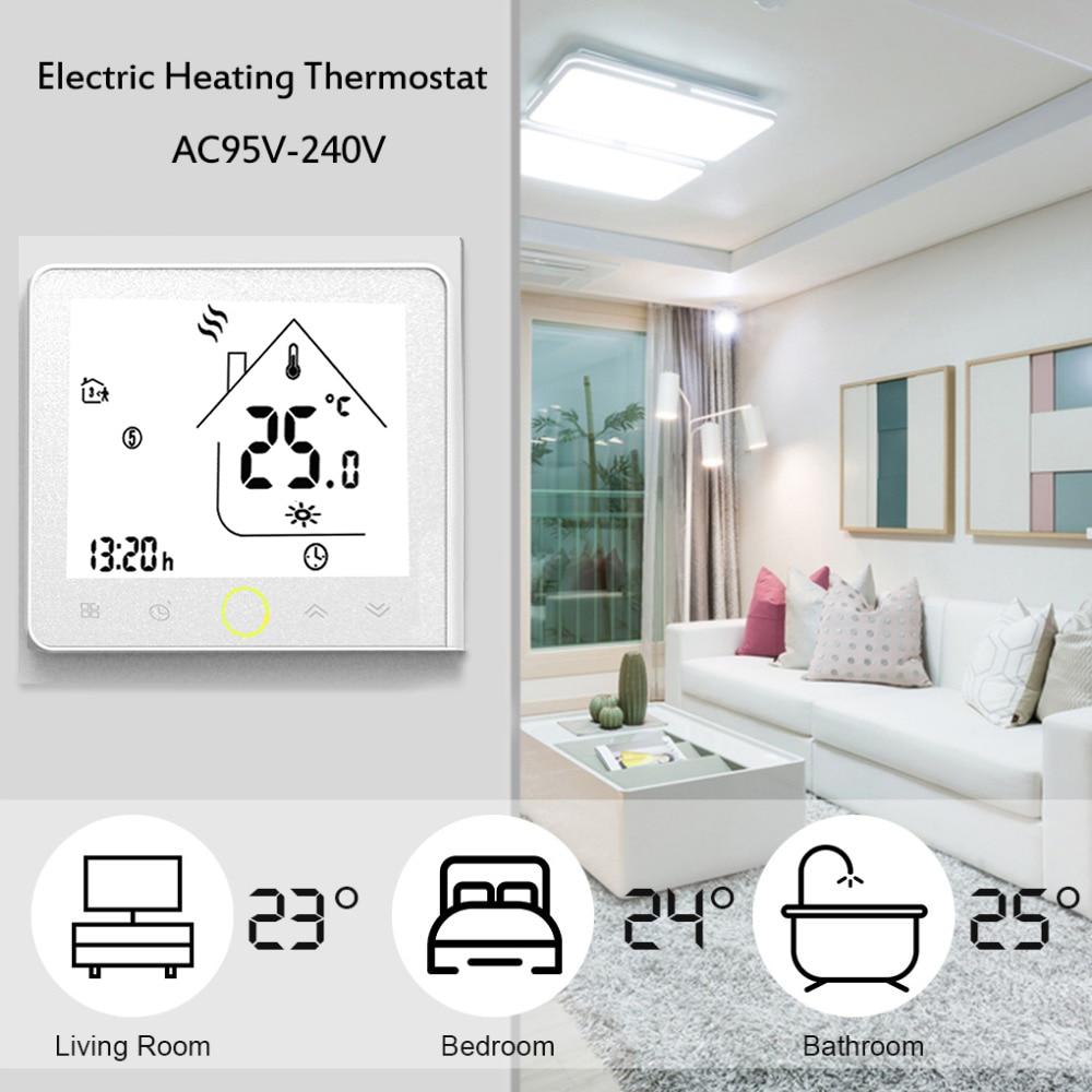 ترموستات للبرمجة Modbus الاتصالات 16A التدفئة الكهربائية LCD تعمل باللمس NTC الاستشعار غرفة ترموستات درجة الحرارة المنزل