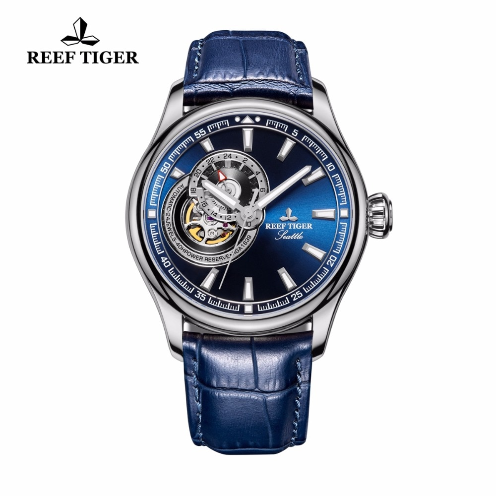 Reef Tiger/RT Causal Watch for Men Genuine Leather Strap Blue Dial Watches Tourbillon Quartz Analog