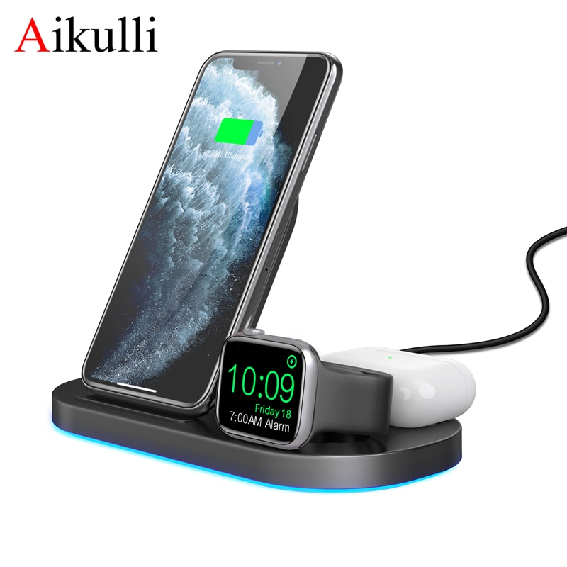 Wireless Charger 3 in 1 Charging Station for iPhone 12 11 XS XR Fast Qi Charger Stand for Apple Watc