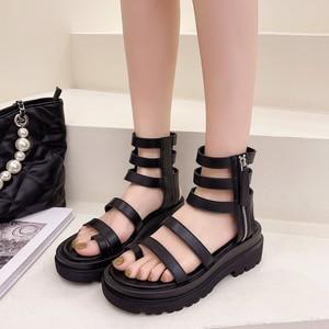 Roman Peep-toe Women's Sandals Summer 2021 Thick-soled Heighten Women's Shoes Belt Buckle Zipper High Top Balck Boots
