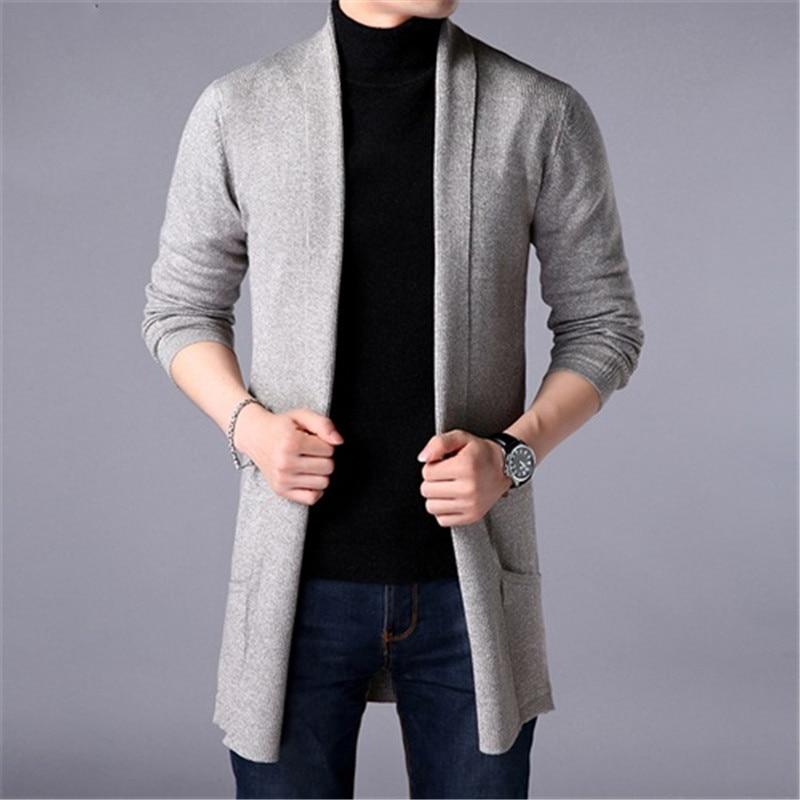 Свитер мужской, новая мода 2020, осенний мужской приталенный длинный однотонный вязаный жакет, модный Мужской Повседневный свитер, кардиган, ...
