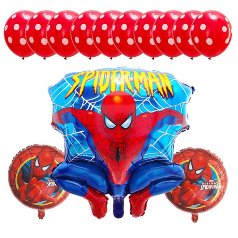 13pcs Spider hero man Foil Balloons Red Blue Latex Ballon Air Globos Super Avengers Birthday Party Decor Baby Shower Kids Toy