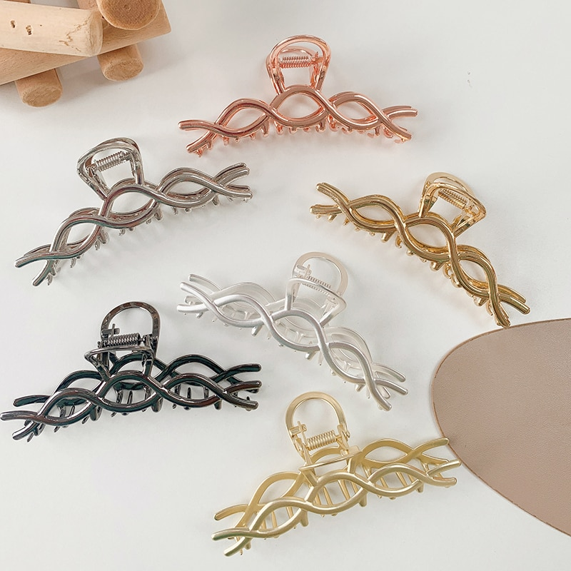 H:HYDE For Women Hair Accessories Line Hair Clip Staggered Cross Hairpin Back of Head Alloy Ponytail Hair Claw