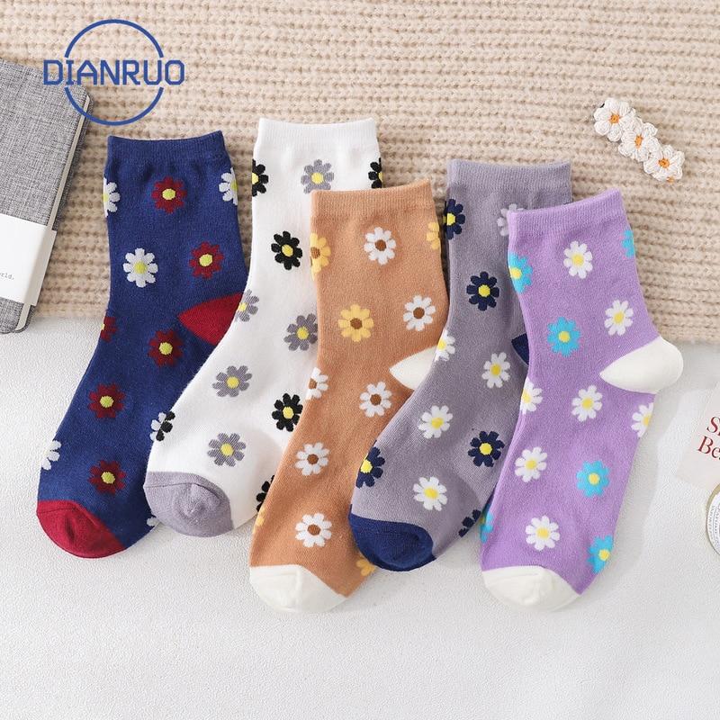 Dianruo japonês estilo universitário mid tube meias outono pequenas flores puro algodão feminino tripulação meias presentes q256