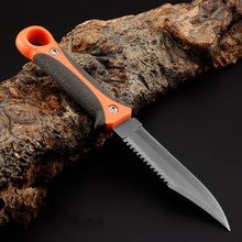 Острый охотничий нож с фиксированным лезвием, серый титановый нож для выживания в кемпинге, десантники для дайвинга, карман с полузубами + оболочка из АБС-пластика