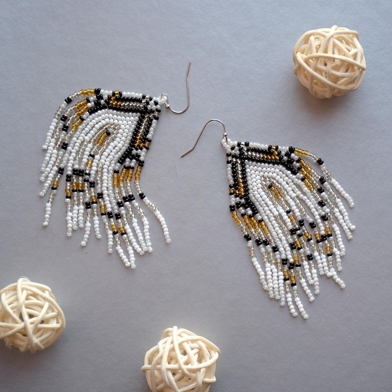 Bohemian Fringed Earrings irregular mixing Pendant earrings Random long tassel Beaded Dorp earrings woman statement jewelry gift