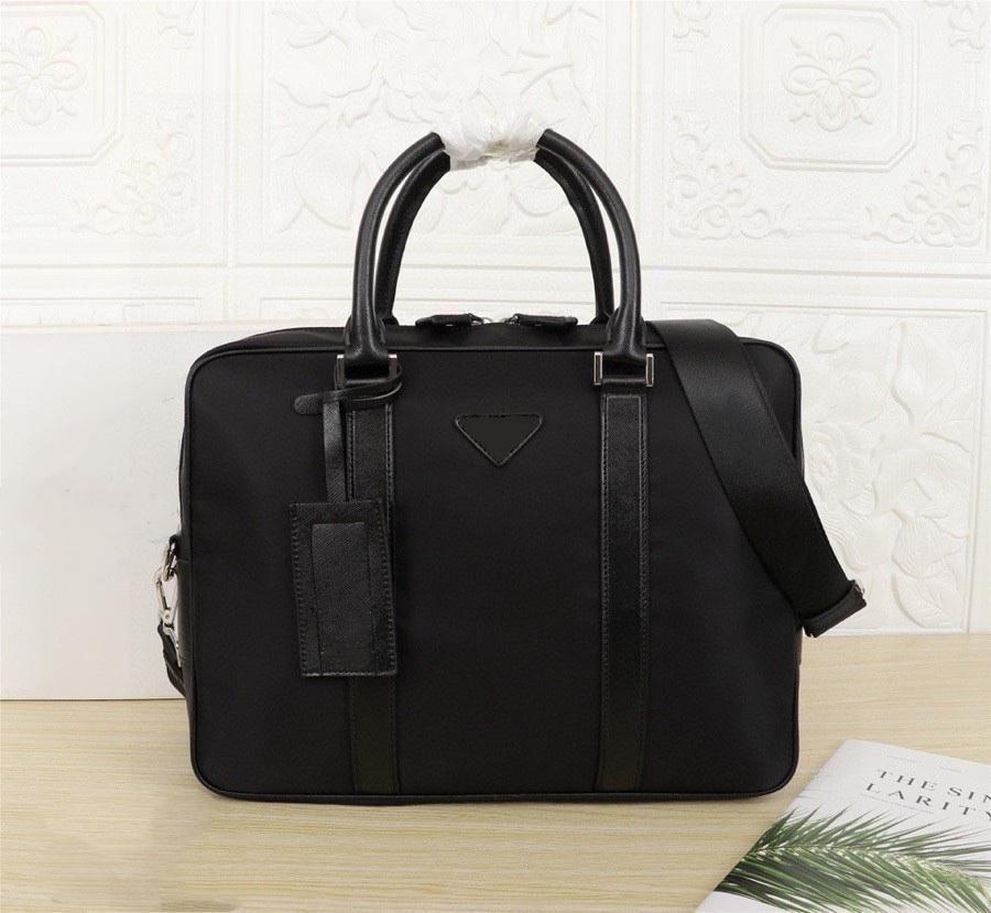 2021 men's black nylon designer briefcase high quality laptop bag large capacity retro fashion handbag