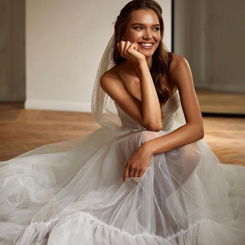 Get Vintage Wedding Dresses Organza Tulle with A-LINE V-neck Full sleeve Bride Gowns Beach Backless plus size Vestido de novia