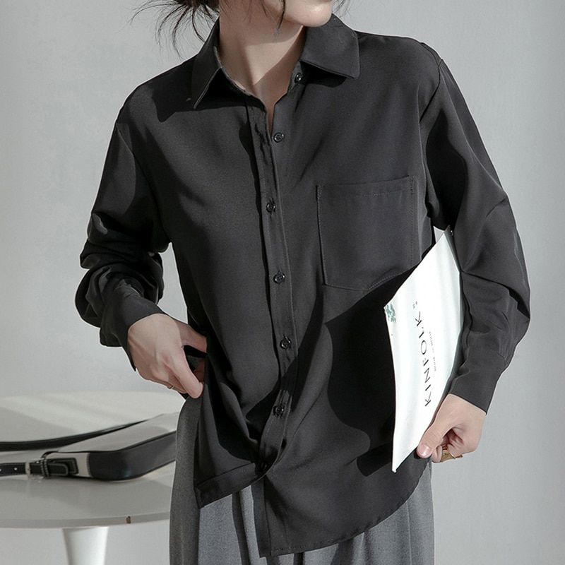 H8a217f78634d47049d93c3bcd429a4c56 - Spring / Autumn Turn-Down Collar Long Sleeves Solid Pocket Blouse