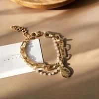 ioy irene hip hop rock geometric metal double pearl chain pendant bracelets for women jewelry birthday gift 2021