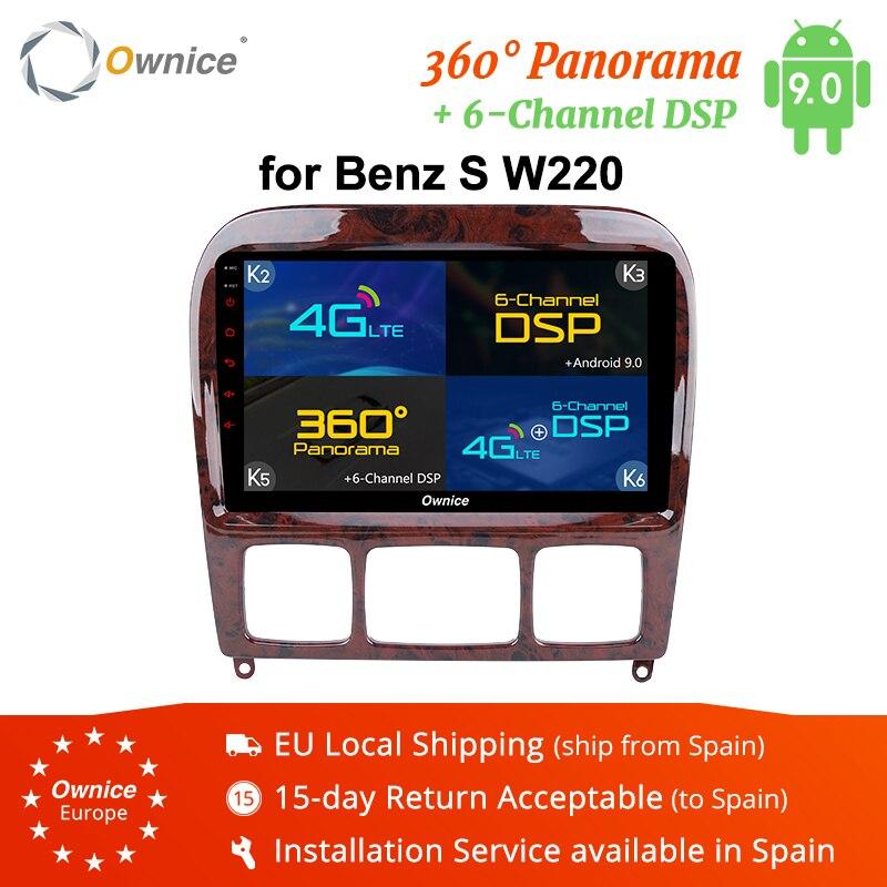 "Ownice-reproductor de DVD para coche K3 K5 K6 2 Din Android 9,0 de 9 "", con Radio para Mercedes Benz W220 W215 S280 S320 S350 S400 S500 CL600 S Class GPS"