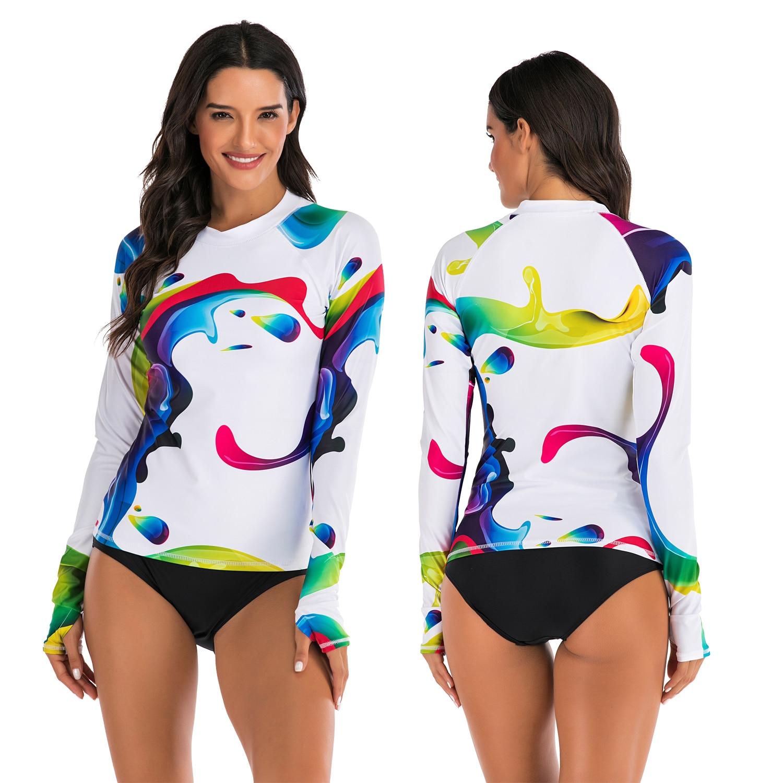 Camisa de manga larga con estampado de Rashguard de secado rápido para mujer, traje de baño de surf, Top camisas de senderismo, camisetas de protección contra rayos UV