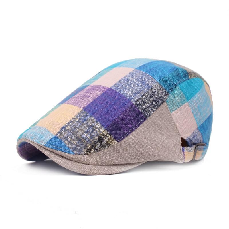 Sombrero Hombre Berets Men Women Vintage Plaid Newsboy Ivy Flat Cap Unisex Artist Painter Hat Retro Adjustable Gastby Beret Cap недорого