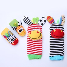 2pcs Baby Rattle Toys Garden Bug Wrist Foot Rattle And Cute Cartoon Animal Socks Rattle Toys For 0-2
