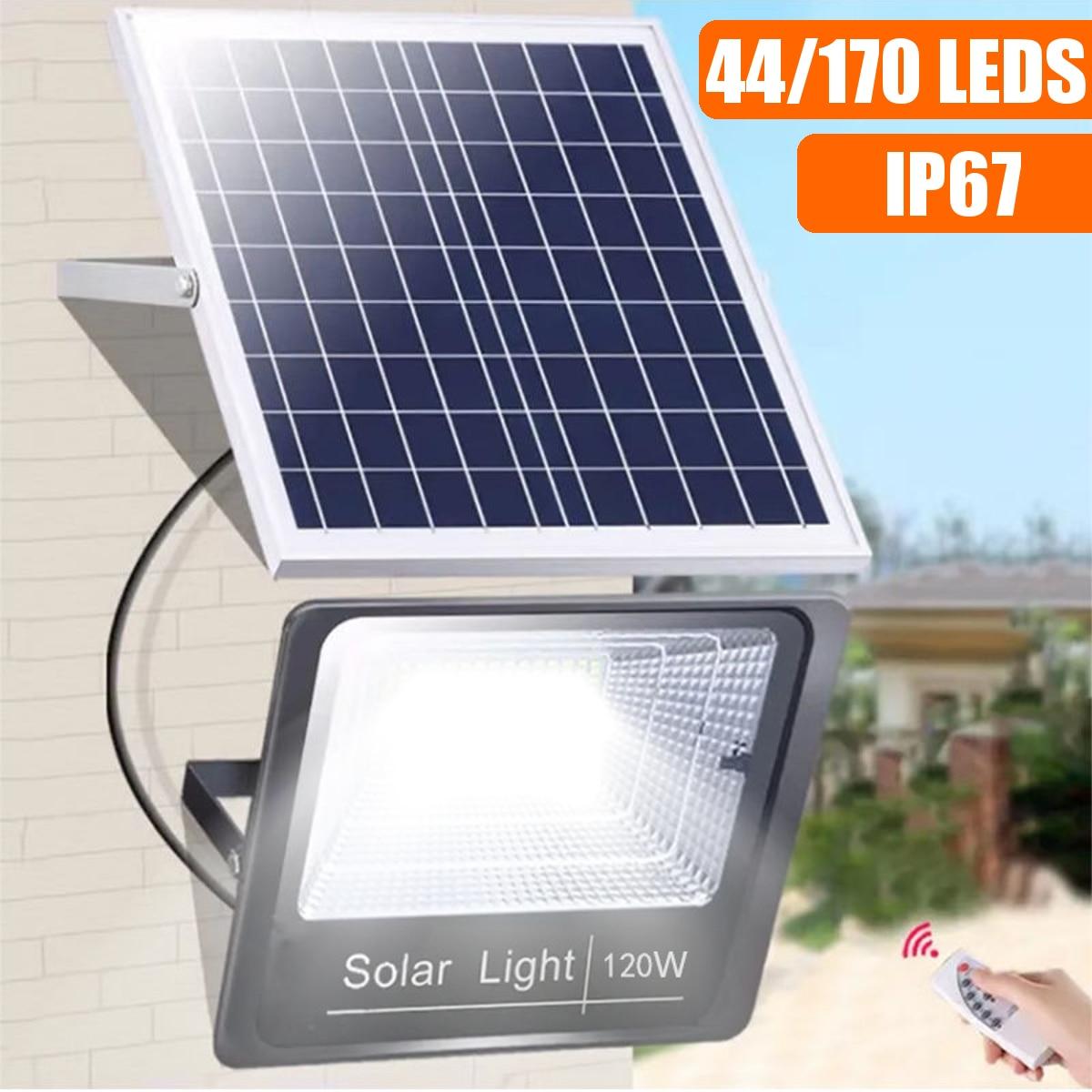 44/170 LEDs Solar Light Outdoor Waterproof For Garden Path Street Outdoor Landscape Spotlight Wall Flood Lamp