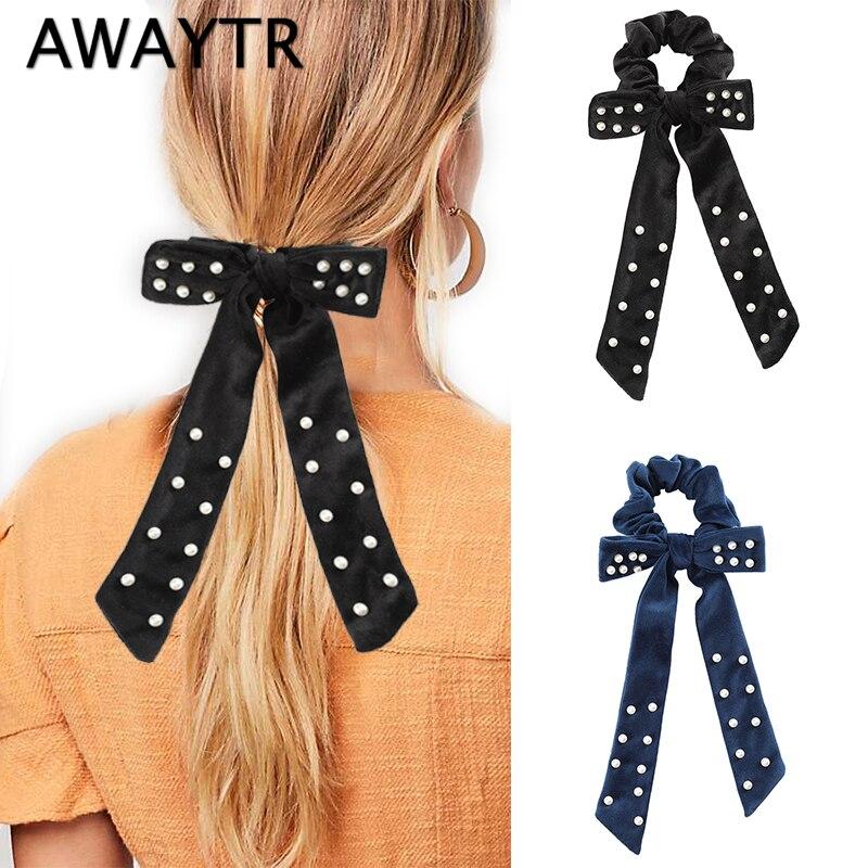 Awaytr nova completa pérola veludo scrunchies feminino elástico faixa de cabelo outono inverno fita do cabelo das senhoras headwear meninas acessórios para o cabelo