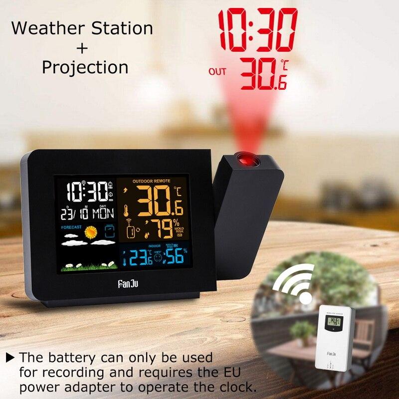 Fj3531 relógio led despertador, relógio despertador com projeção led, função de soneca, retroiluminação rotativa, projetor, decoração de casa