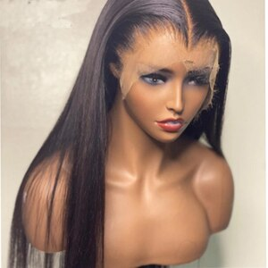 Jet Black Color Silky Straight With Baby Hair Glueless Lace Front Wig Middle Part Natural Hairline Daily Wig For Black Women