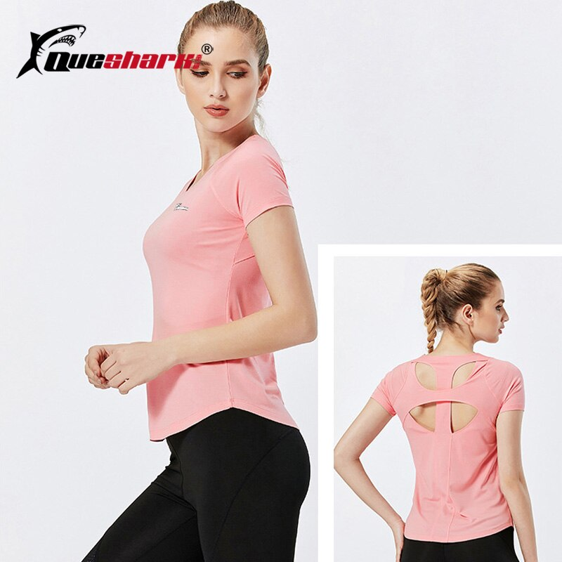 QUESHARK Seamless Yoga Shirt Women Quick dry Short Sleeve Running Shirt Sexy Hollow Back Training Tank Tops Fitness T-shirt