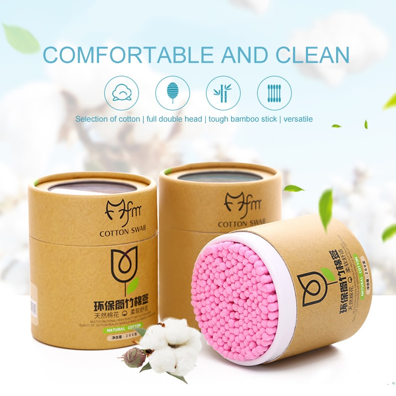 200pcs/Box Double-Headed Cotton Swabs Ears Clean Tools Soft Women Makeup Cotton  Nose Ears Cleaning