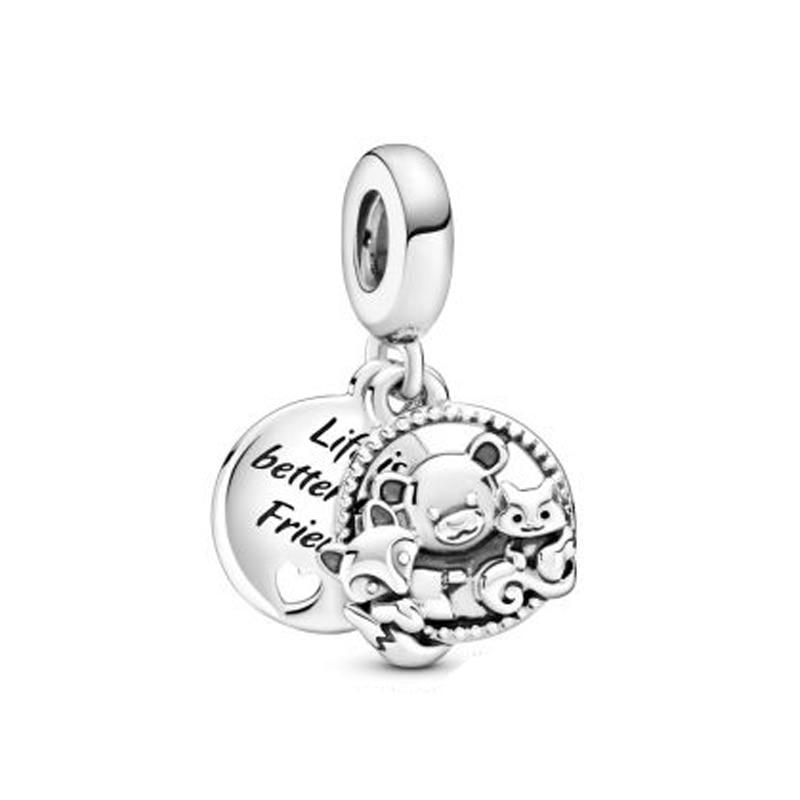 Outono 925 sterling silverbear, raposa & esquilo balançar charme se encaixa original pulseiras colar fazendo moda jóias diy