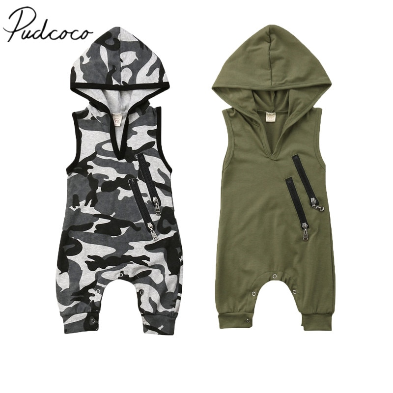 Pudcoco  Baby Summer Clothing Newborn Toddler Baby Boy Fashion Hooded Rompers Camouflage Print Sleeveless Zip Jumpsuits 0-24M