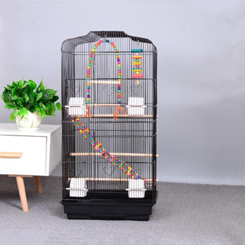 1 Uds loro jaula para pájaros extra grande de lujo peonía grande jaula gris para loro jaula de metal gris loro jaula para pájaros