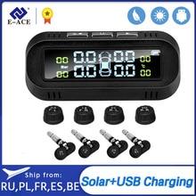 E-ACE 태양 스마트 TPMS 자동차 타이어 압력 알람 모니터 시스템 4 센서 디스플레이 지능형 타이어 압력 온도 경고
