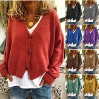 fashion casual loose v neck long sleeve open sweater for autumn winter 2021 female new hot sale with button cotton sweaters coat