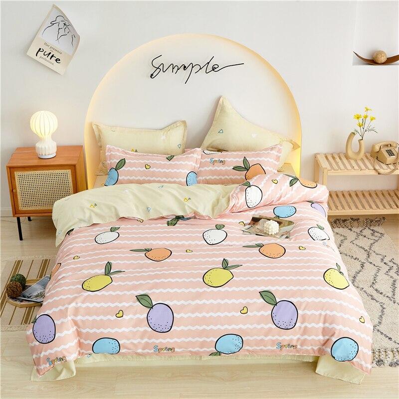 Простое постельное белье для кровати, пододеяльник, набор простыней, постельное белье для двуспальной кровати для всей семьи, роскошное пок...