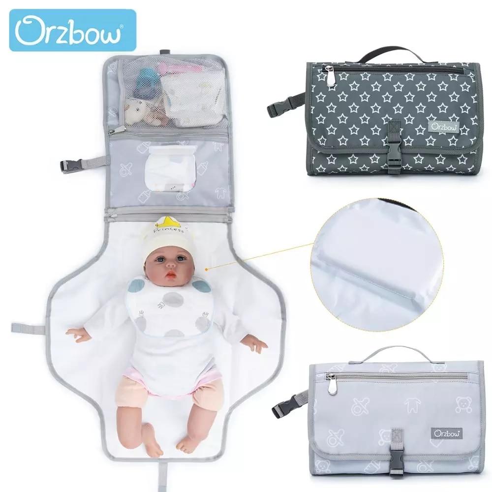 Orzbow 2 In 1 Baby Windel Ändern Matte Mama Nass Taschen Reise Tragbare Neugeborenen Baby Matratze Windel Ändern Pad Wasserdicht sauber