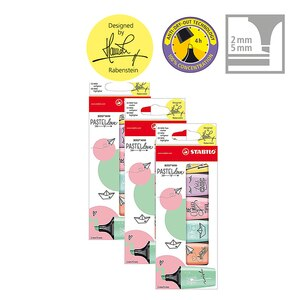 STABILO BOSS MINI Pastellove - 3er Pack - delicate Turkish, pink rouge, hint of mint green Text marker