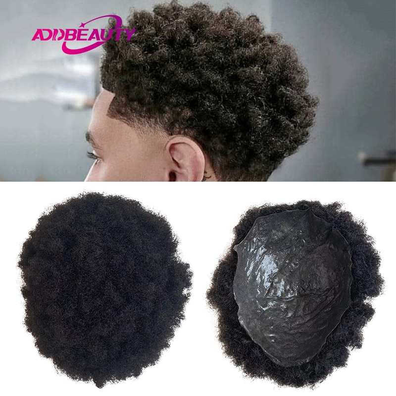 Afro Hair Repacement Toupee PU 0.04-0.06mm Indian Human Remy Hair Wig 4mm Wave Kinky Curly Hairpiece for Black Man Natural Color