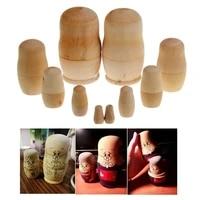 new arrival 5pcsset unpainted diy blank wooden embryos russian nesting dolls matryoshka toy