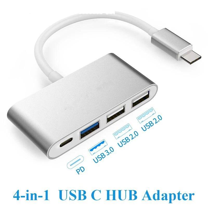 Hub adaptador Usb tipo c, 4 puertos, pd, usb 3,0, usb 2,0,...